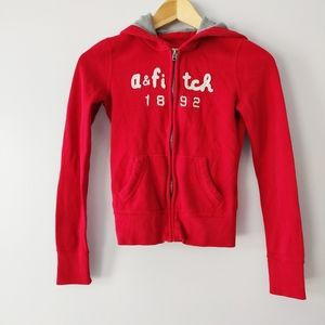 Abercrombie & Fitch red zipper hoodie